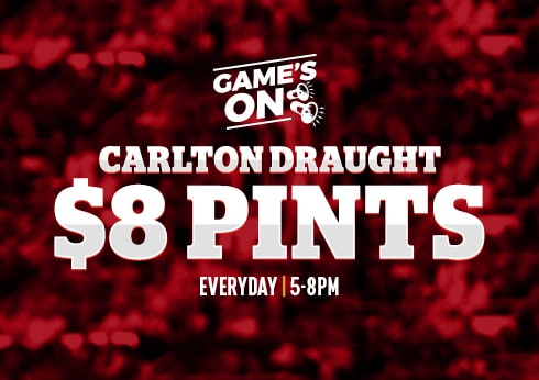 $8 Carlton Draught Pints at the pub melbourne