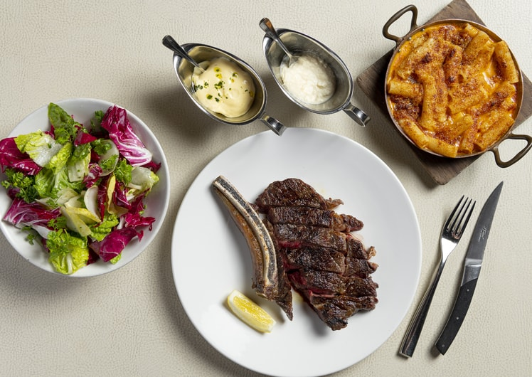 steak and salad at Rockpool Crown Melbourne