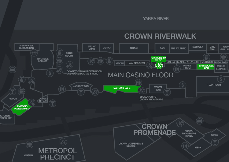 crown melbourne map showing locations of value dining offers