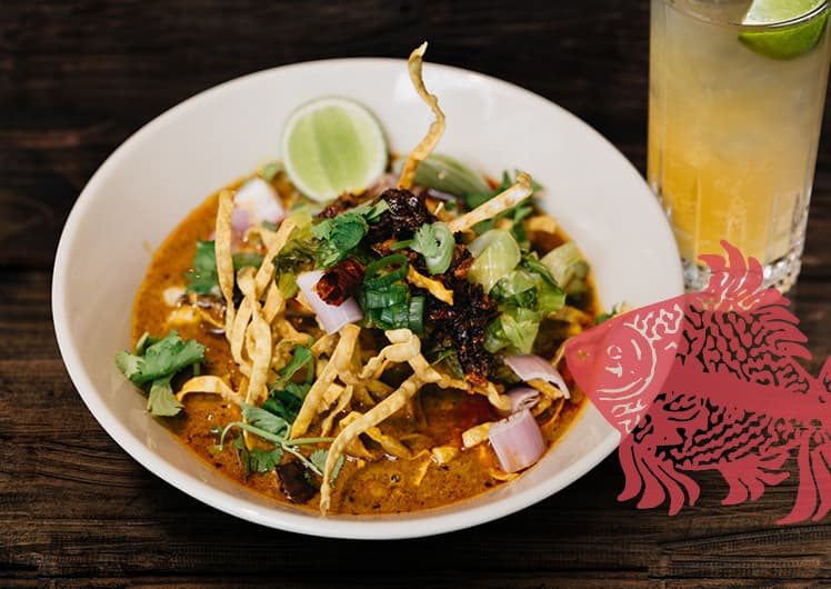 bowl of spicy noodles for $25 Lunch Time Thai at Long Chim