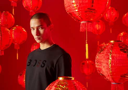 Hugo Boss Lunar New Year shopping at Crown Melbourne lanterns