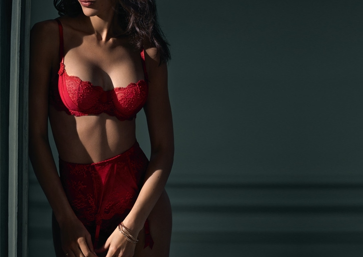 Model wearing red imLingerie at Crown Melbourne