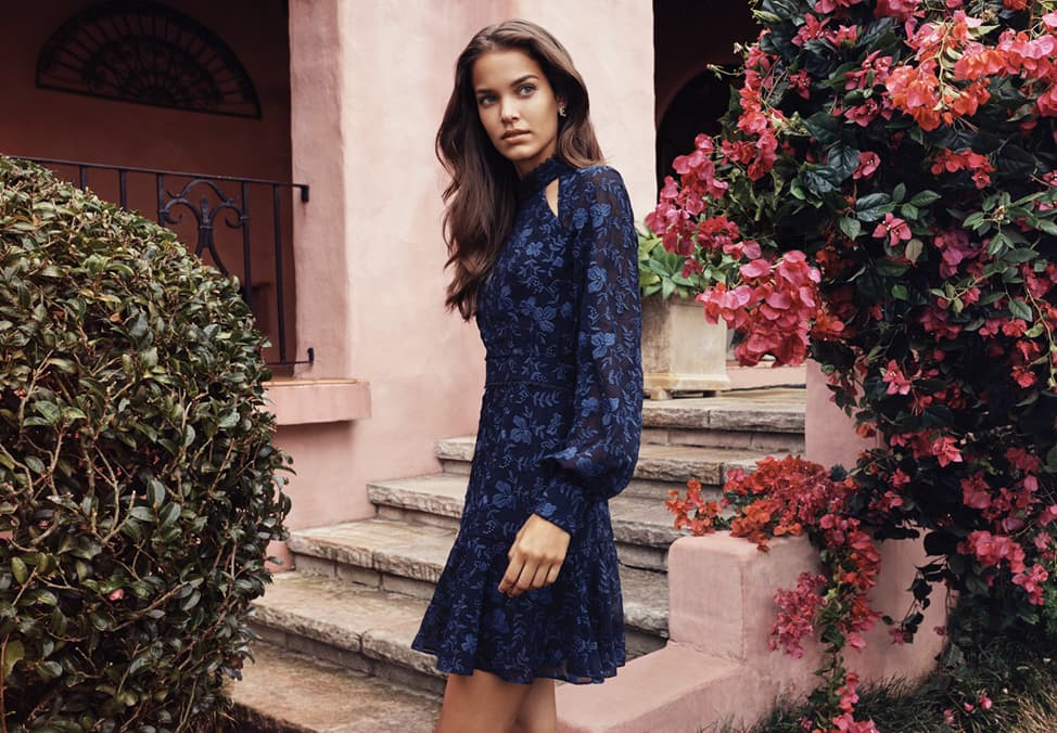 Forever New Vintage Blooms Collection floral navy coloured flowy dress